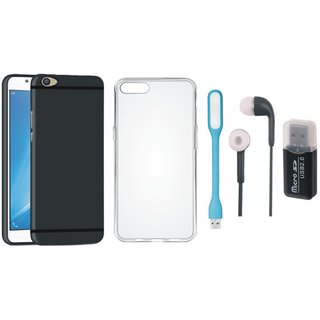 Oppo F5 Soft Silicon Slim Fit Back Cover with Memory Card Reader, Silicon Back Cover, Earphones and USB LED Light