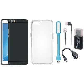 Oppo F5 Silicon Slim Fit Back Cover with Memory Card Reader, Silicon Back Cover, Earphones, USB LED Light and OTG Cable