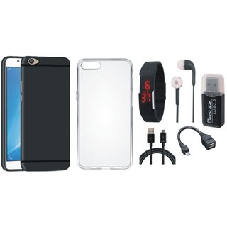 Oppo A71 Silicon Slim Fit Back Cover with Memory Card Reader, Silicon Back Cover, Digital Watch, Earphones, OTG Cable and USB Cable