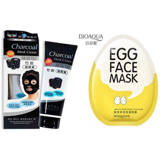 Bamboo Activated Charcoal  Face Mask and Bioaqua Egg Mask