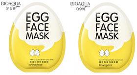 BIOAQUA Whitening Facial Egg Face Mask Anti Aging Moisturizing Shrinking Pores Wrapped Mask - Pack Of 2