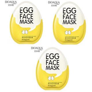 BIOAQUA Whitening Facial Egg Face Mask Anti Aging Moisturizing Shrinking Pores Wrapped Mask - Pack of 3