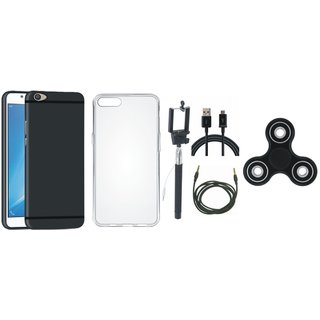 Oppo A71 Soft Silicon Slim Fit Back Cover with Spinner, Silicon Back Cover, Selfie Stick, USB Cable and AUX Cable