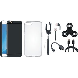 Oppo A71 Silicon Slim Fit Back Cover with Spinner, Silicon Back Cover, Selfie Stick, Earphones, OTG Cable and USB Cable