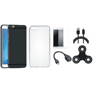 Oppo A71 Silicon Slim Fit Back Cover with Spinner, Silicon Back Cover, Tempered Glass, OTG Cable and USB Cable