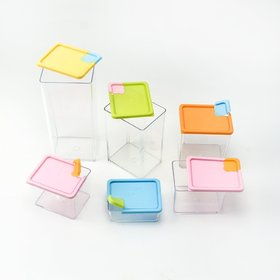 Maison  Cuisine Multipurpose Plastic Stackable  Space Savvy Pocket Block Spice  Food Storage Box Container Set of 6 (