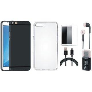 Oppo F5 Cover with Memory Card Reader, Silicon Back Cover, Tempered Glass, Earphones and USB Cable