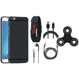 Oppo F5 Soft Silicon Slim Fit Back Cover with Spinner, Digital Watch, Earphones, USB Cable and AUX Cable