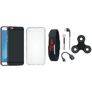 Oppo A71 Stylish Back Cover with Spinner, Silicon Back Cover, Digital Watch, Earphones and OTG Cable