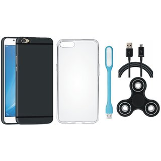 Oppo F5 Soft Silicon Slim Fit Back Cover with Spinner, Silicon Back Cover, USB LED Light and USB Cable