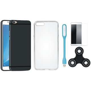 Oppo F5 Soft Silicon Slim Fit Back Cover with Spinner, Silicon Back Cover, Tempered Glas and USB LED Light