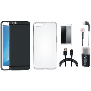 Vivo V9 Soft Silicon Slim Fit Back Cover with Memory Card Reader, Silicon Back Cover, Earphones, Tempered Glass and USB Cable