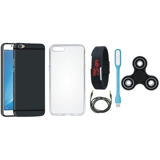 Oppo F5 Soft Silicon Slim Fit Back Cover with Spinner, Silicon Back Cover, Digital Watch, USB LED Light and AUX Cable