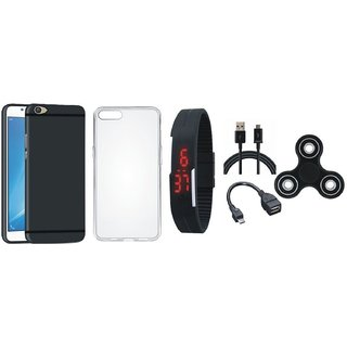 Oppo F5 Soft Silicon Slim Fit Back Cover with Spinner, Silicon Back Cover, Digital Watch, OTG Cable and USB Cable