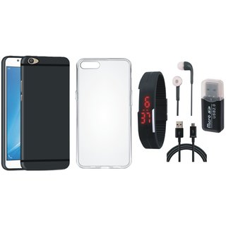 Vivo V9 Soft Silicon Slim Fit Back Cover with Memory Card Reader, Silicon Back Cover, Digital Watch, Earphones and USB Cable