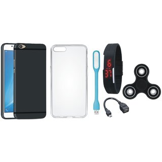 Oppo F5 Soft Silicon Slim Fit Back Cover with Spinner, Silicon Back Cover, Digital Watch, OTG Cable and USB LED Light