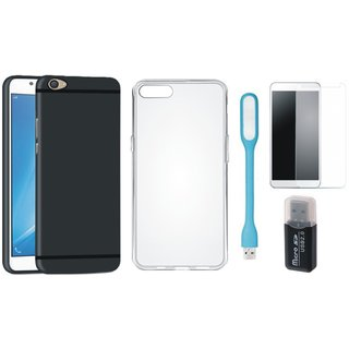 Vivo V9 Soft Silicon Slim Fit Back Cover with Memory Card Reader, Silicon Back Cover, Tempered Glas and USB LED Light