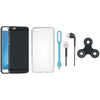 Oppo F5 Silicon Slim Fit Back Cover with Spinner, Silicon Back Cover, Earphones and USB LED Light