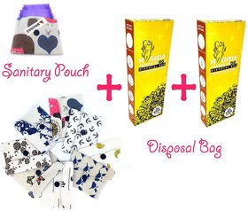 Sanitary Pad Pouch, Sanitary Pad, Pad wallet, Sanitary Pad cover + Disposal Bag Set of 50 Bags (Combo)