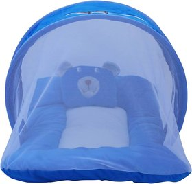 Nagar international baby mosquito protection net cum baby bedding set mt20 blue new born to 5 months