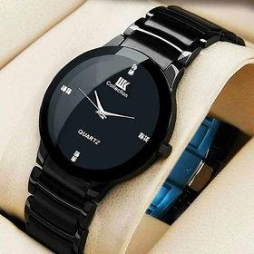 kayara fashion IIK Round Dial Black Metal Strap Men Quartz Watch for Men