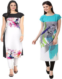 Woman's Digital Printed American Crepe Straight cut Kurti(Pack of 2)13/11