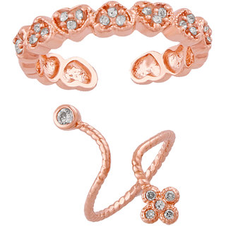 Mahi Rose Gold Plating Combo of 2 Pretty Adjustable Finger rings with Cubic Zirconia and Crystal stones CO1104750Z
