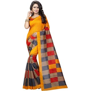 ORANGE CHECKS (BHAGALPURI SAREES) NEW BOLLYWOOD-INDIAN-DESIGNER-PARTY-WEAR-ETHNIC Peria-Apparel