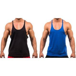 The Blazze Men's Blank Stringer Y Back Bodybuilding Gym Tank Tops Pack of 2