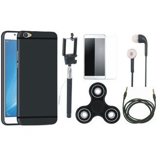 Vivo V9 Silicon Anti Slip Back Cover with Free Spinner, Selfie Stick, Tempered Glass, Earphones and AUX Cable