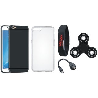 Redmi 5 Soft Silicon Slim Fit Back Cover with Spinner, Silicon Back Cover, Digital Watch and OTG Cable