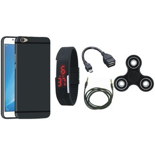 Redmi Note 5 Pro Silicon Slim Fit Back Cover with Spinner, Digital Watch, OTG Cable and AUX Cable