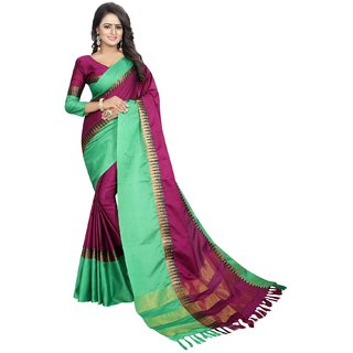 Mastani Purple Cotton Silk  Party Wear Temple Border Sarees 8MST129