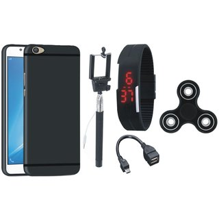 Redmi 5 Silicon Anti Slip Back Cover with Spinner, Selfie Stick, Digtal Watch and OTG Cable