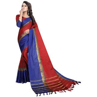Mastani Red Cotton Silk  Partywear Temple Border  Sarees