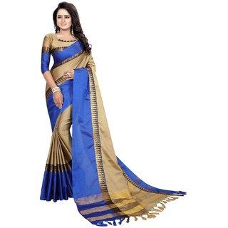 Mastani Beige and Blue Cotton Silk  Partywear Piramid Temple  Sarees  8MST131