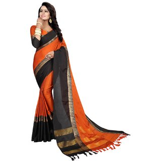 Mastani Orange black  Cotton Silk  Party  Sarees