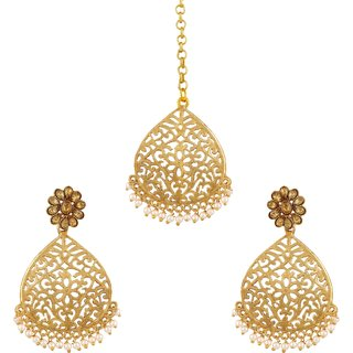 Asmitta Pretty Lct Stone Gold Plated Dangle Earring With Maang Tikka For Women