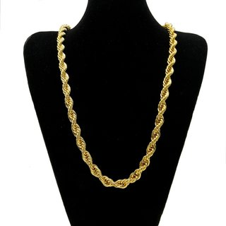 One Gram 22kt Gold Plated Rope Chain for men/women 24 Inch long/ 5mm thick-XC85