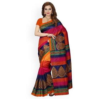 7Rainbow Multicolor Digital Printed Art Silk Saree With Blouse