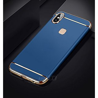 new product d16fc b4ec7 BM Vivo V9 Case, 3in1 Hybrid Hard Back Cover Electroplating Case for Vivo  V9 (Blue with Gold)