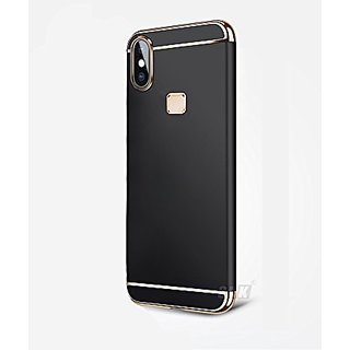 cheap for discount e5c32 cc09f SK Vivo V9 Case, 3in1 Hybrid Hard Back Cover Electroplating Case for Vivo  V9 YOUTH (Black with Gold)