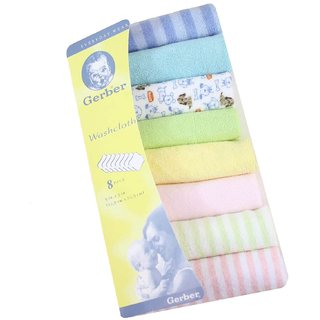 Baby napkin cum wash cloth Gerber Hosiery 8 Pcs Newborn Baby Soft Cotton Face Towels (