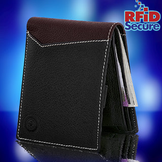 a64d95761f95 POLLSTAR Luxury Leather Mens Wallets with Coin Packet and ID Window  (WL760BK)