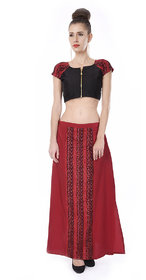 Trenditional Ikat/Sambalpuri Round Neck Short Sleeves Handloom Crape Red Black Skirt Top For Women'S