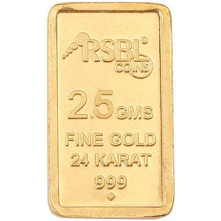 RSBL 2.5 grams 24k (999) Yellow Gold Rose Design Precious Bar