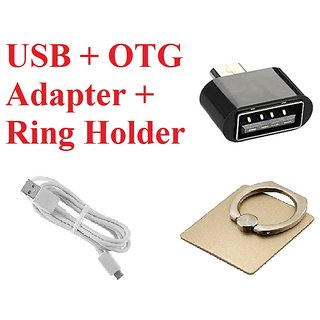 Combo of USB Cable W, OTG Adaptor  Ring Holder