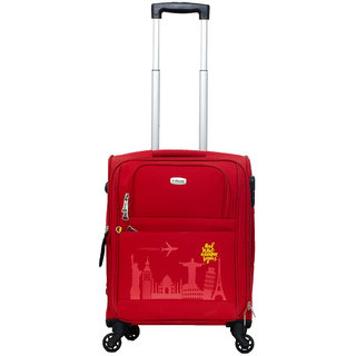 Timus Salsa Red Cabin 55 cm 4 Wheel Strolley Suitcase For Travel