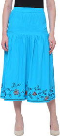Bluestone Women's  Turquoise Polyester SKIRT-(BLWB-200-2XL)
