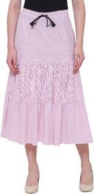 Bluestone Women's  Pink Cotton SKIRT-(BLWB-201-2XL)